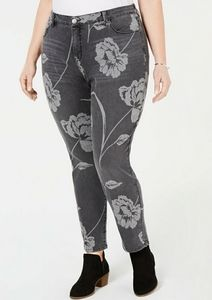 STYLE & CO PLUS SIZE 22W CURVY FLORAL SKINNY JEANS